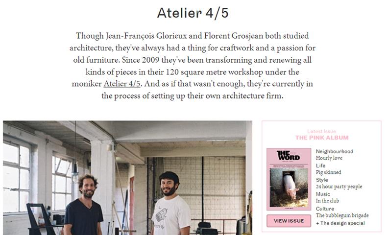 atelier 4/5 - atelier4cinquieme - architecture - mobilier - the word magazine - pink album